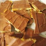 Pieces of salted toffee bar