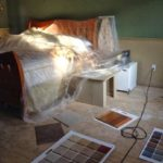 Guest room being remodeled after water damage