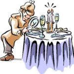 Colored drawing of an inspector looking at a plate on a dining table through a magnifying glass