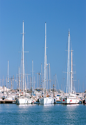 Many sailboats with tall masts in blue water amidst blue skies