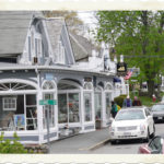 Downtown Chatham tree-lined street view of cute shops