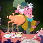Colored drawing of the mad hatter pouring a teapot with three spouts into three teacups