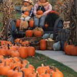 Two stuffed scarecrows in plaid shirts sitting on a wagon surrounded by orange pumpkins