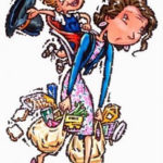Colorful drawing of a mom looking tired holding bags of groceries and a child on her back