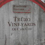 Close up view of a wine barrel that reads: Truro Vineyards of Cape Cod